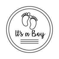 cartão de quadro de chuveiro de bebê com pegada e letras - é um estilo de linha masculino vetor