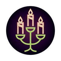 lustre com velas acesas decoração ornamento estilo de ícone de néon vetor
