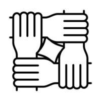 quatro mãos igualdade direitos humanos dia linha ícone design vetor