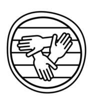 ícone de estilo de linha de trabalho em equipe de mãos vetor