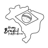 Feliz Dia da Independência Brasil cartão com bandeira em estilo de linha de mapa vetor