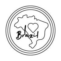 Eu amo o selo do brasil com ícone de estilo de linha de mapa vetor