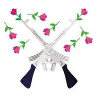 rifles armas com flores rosas vetor