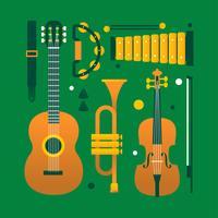 Conjunto de Knolling de vetor de instrumentos musicais de vetor plana