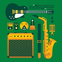 Instrumentos Musicais Vintage Knolling vetor