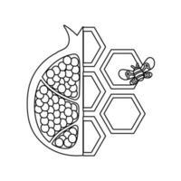 formas de mel doce com meia romã e abelha vetor