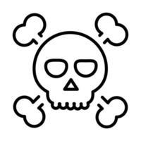 feliz halloween crânio cruzado ossos doces ou travessuras festa celebração linear ícone design vetor