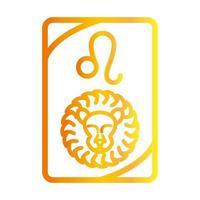 Ícone de estilo gradiente do cartão de previsão do tarô leo esotérico do zodíaco vetor