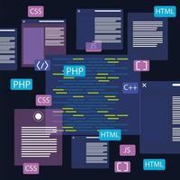 códigos de desenvolvimento web vetor