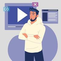 programador com video vetor