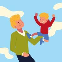 pai carregando filho vetor