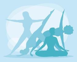 mulheres com silhueta de ioga vetor
