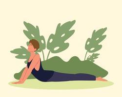 mulher em postura de ioga vetor