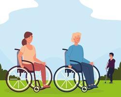 homem e mulher deficientes vetor
