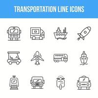 conjunto de ícones de linha de transporte exclusivo vetor