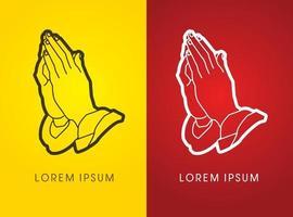 esboço mãos oração oração cristã vetor