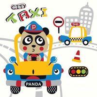 desenho animado animal panda, o taxista vetor