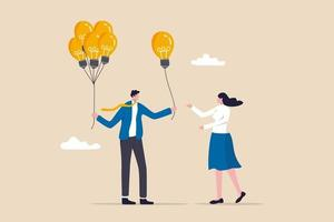ideia de negócio ou solução oferecendo mentor dar uma solução de aconselhamento para resolver problemas de negócios vetor