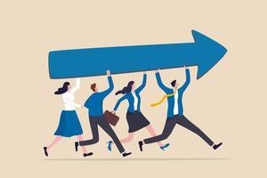 sucesso e melhoria da equipe compartilhando o mesmo objetivo de negócios vetor