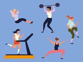 mulheres fazendo exercícios de fitness vetor