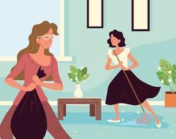 mulheres fazendo limpeza vetor