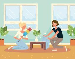 mulheres limpando sala de estar vetor