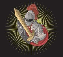 cavaleiro com espada dourada vetor