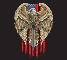 águia américa com independência de espada vetor