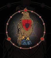 ilustração de garuda com fundo de geometria sagrada vetor
