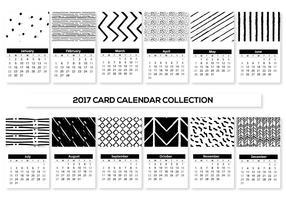 Cartões preto e branco do calendário 2017 vetor