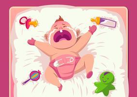 Bebê chorando na cama vetor