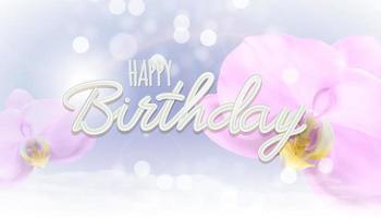 fundo realista da flor da orquídea 3d. fundo do conceito de feliz aniversário. ilustração vetorial vetor
