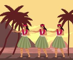 Vetor de dançarinos havaianos