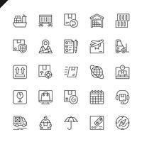 Linha fina logística, entrega, ícones de transporte definido para site e site móvel e apps. Design de ícones de contorno. 48x48 Pixel Perfeito. Pacote de pictograma linear. Ilustração vetorial.