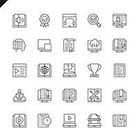Linha fina e-learning, ícones de elementos de educação on-line definido para site e site móvel e apps. Design de ícones de contorno. 48x48 Pixel Perfeito. Pacote de pictograma linear. Ilustração vetorial.