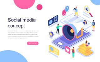 Conceito isométrico moderno design plano de mídias sociais para banner e site. Modelo de página de destino. Comunicação virtual e compartilhamento de mídia. Ilustração vetorial. vetor