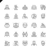 Ícones de pessoas de linha fina para site, site móvel e apps. Design de ícones de contorno. 48x48 Pixel Perfeito. Pacote de pictograma linear. Ilustração vetorial. vetor