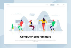 Conceito de design plano moderno de programadores de computador. Desenvolvimento de software e conceito de pessoas. Modelo de página de destino. Ilustração em vetor plana conceitual para a página da web, site e site móvel.