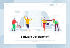 Conceito de design plano moderno de desenvolvimento de software. Desenvolvedor e conceito de pessoas. Modelo de página de destino. Ilustração em vetor plana conceitual para a página da web, site e site móvel.