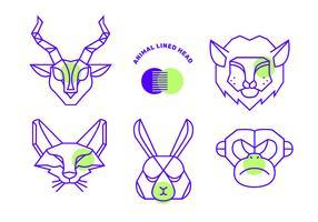 Linha de vetor de cabeça de forma geométrica simples animais