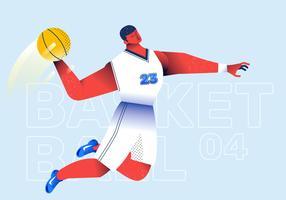 Ilustração em vetor de jogador de basquete slam dunk