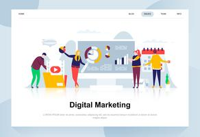 Conceito de design plano moderno de marketing digital. Publicidade e conceito de pessoas. Modelo de página de destino. Ilustração em vetor plana conceitual para a página da web, site e site móvel.