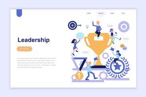 Modelo de página de destino do conceito de design plano moderno de liderança empresarial. Aprendizagem e conceito de pessoas. Ilustração em vetor plana conceitual para a página da web, site e site móvel.