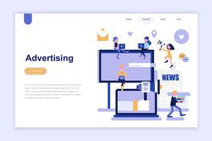 Modelo de página de destino de publicidade e promoção conceito moderno design plano. Aprendizagem e conceito de pessoas. Ilustração em vetor plana conceitual para a página da web, site e site móvel.