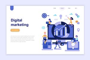 Modelo de página de aterrissagem do conceito de design plano moderno de marketing digital. Aprendizagem e conceito de pessoas. Ilustração em vetor plana conceitual para a página da web, site e site móvel.