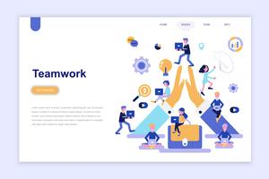 Modelo de página de aterrissagem do conceito de design plano moderno do trabalho em equipe. Aprendizagem e conceito de pessoas. Ilustração em vetor plana conceitual para a página da web, site e site móvel.