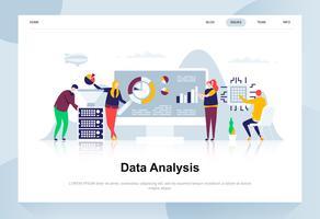 Conceito de design plano moderno de análise de dados. Conceito de análise e pessoas. Modelo de página de destino. Ilustração em vetor plana conceitual para a página da web, site e site móvel.