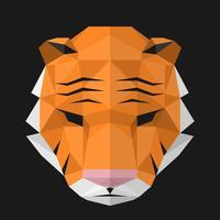 Cabeça poligonal geométrica de uma ilustração de tigre vetor