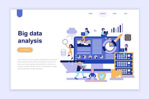 Modelo de página de aterrissagem do conceito de design plano moderno de análise de dados grande. Aprendizagem e conceito de pessoas. Ilustração em vetor plana conceitual para a página da web, site e site móvel.