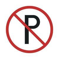 nenhum sinal de estacionamento no ícone de estilo plano de círculo vermelho riscado vetor